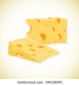 Illustration of organic cheese vector realistic icon isolated