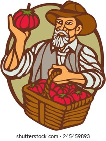 Illustration of an organic farmer carrying basket of tomatoes set inside circle done in retro woodcut linocut style.