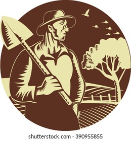 Illustration of an organic farmer holding shovel on shoulder looking to the side set inside circle with farm orchard in the background done in retro woodcut style.