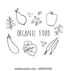 Illustration of organic food. Hand drawn fruit, vegetables, nuts and greens with lettering.