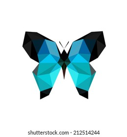 Illustration of origami blue butterfly isolated on white background