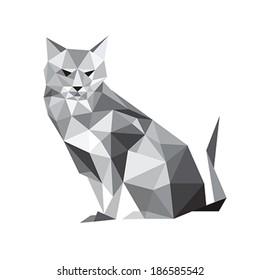Illustration of origami cat isolated on white background