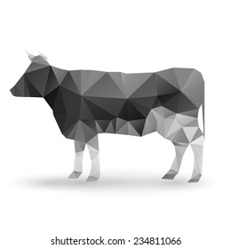 Illustration of origami cow isolated on white background