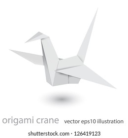 Illustration of origami crane isolated on white background. Mesh technique
