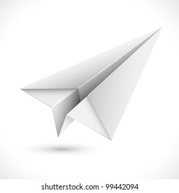 illustration of origami paper airplane on white background