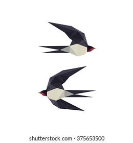 Illustration with origami swallow birds on white background