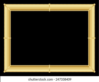 illustration of an ornate golden frame with room for text on black background, vector image, eps10