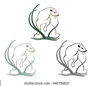 Illustration of Otter in Reeds