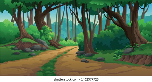 Illustration of an outdoor in the jungle and natural