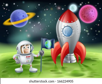 An illustration of an outer space cartoon background with a cute cartoon astronaut planting an earth flag on an alien world with his shiny vintage rocket