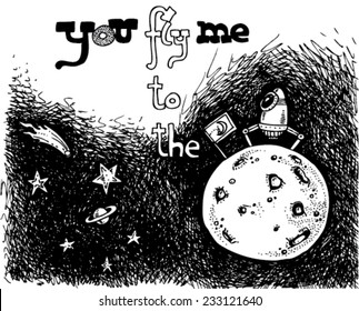 illustration of outer-space, moon, stars, a rocket landed on the moon, message: fly me to the moon/vector you fly me to the moon - night sky - black and white/digital vector