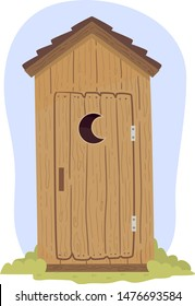Illustration of An Outhouse Made From Wood with a Moon Shape Design on the Door