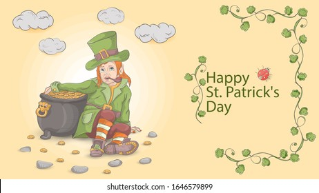 illustration outline, coloring, banner with St. Patrick's day in the style of Doodle, little leprechaun dwarf sitting leaning on a pot of gold coins, in a green suit, vector