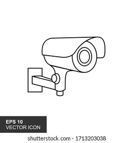 Illustration of outline icon for an isolated CCTV camera on a white background.