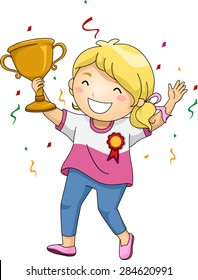 Illustration of an Overjoyed Girl Celebrating Her Victory While Holding Her Trophy