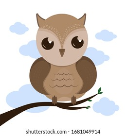 Illustration of an owl. Owl bird. Eagle owl on a branch. Owl on a branch