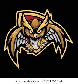 illustration of owl e-sport mascot graphic