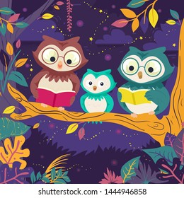 Illustration of Owl Family Mascot Reading Books on Tree at Night