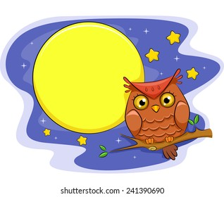 Illustration of an Owl Perched on a Branch With the Moon and the Stars as Its Background