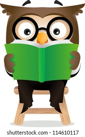Illustration of an Owl Reading a Book