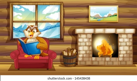 Illustration of an owl reading a book beside a fireplace