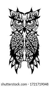 illustration of owl for tattoo design or shirt