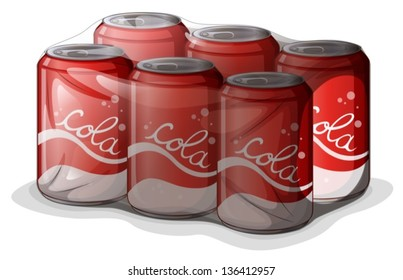 Illustration of a pack of cola cans on a white background