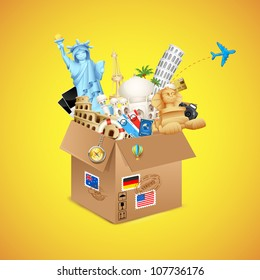 illustration of package full of famous monument with air ticket and airplane flying