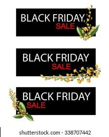 Illustration of Padauk Flowers or Papilionoideae Flowers on Black Friday Shopping Banner for Start Christmas Shopping Season.