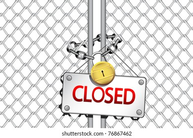 illustration of padlock with chain and closed board hanging on gate