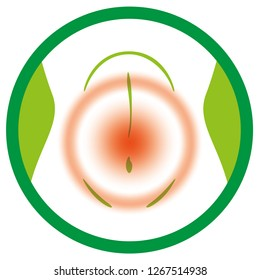 Illustration of pain icon in the region of the stomach, belly. Ideal for medical and educational materials