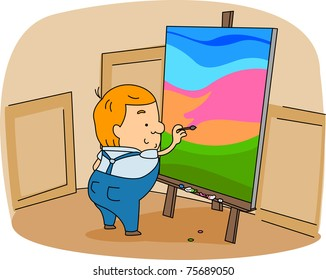 Illustration of a Painter at Work