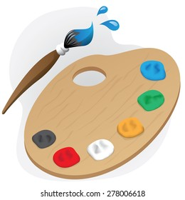 Illustration is a painting material object paint palette and brush. Ideal for children's books and institutional material