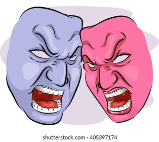 Illustration of a Pair of Angry Looking Masks Depicting Codependency