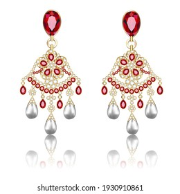 Illustration of a pair of gold jewelry earrings with ruby and precious stones isolated on white with reflection
