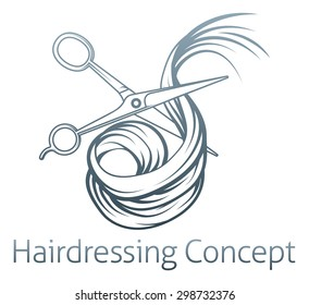 An illustration of a pair of hairdressers scissors cutting Hair