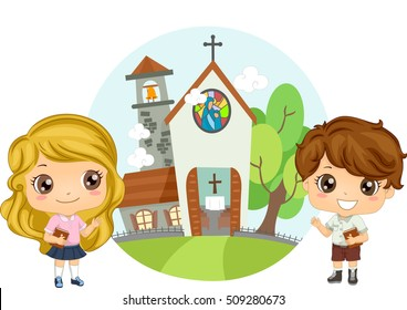 Illustration of a Pair of Preschool Kids Carrying Bibles Attending Church Service