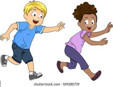 Illustration of a Pair of Preschool Kids Happily Playing a Game of Tag