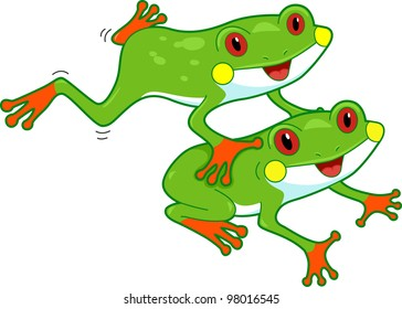 Illustration of a Pair of Rainforest Frogs in Mid-motion