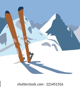 An illustration of a pair of skis in the snow on the mountain.
