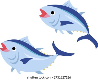 Illustration of a pair of smiling tuna