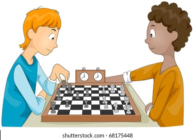 Illustration of a Pair of Teenagers Having a Chess Match