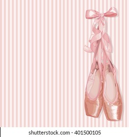 Illustration of a pair of well-worn ballet pointes shoes