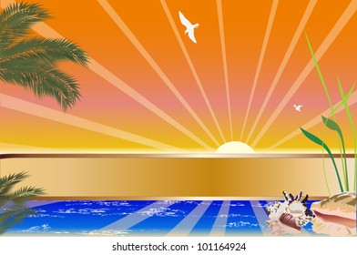 illustration with palm tree and sea at sunset