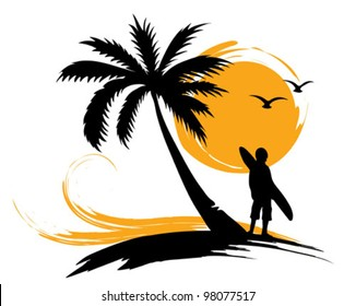 Illustration - palm trees, sun, surf