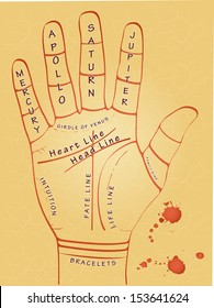 illustration of palmistry map on open palm on abstract