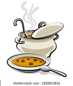 illustration of the pan and plate with a hot soup