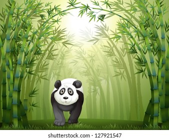 Illustration of a panda bear walking in a bamboo forest