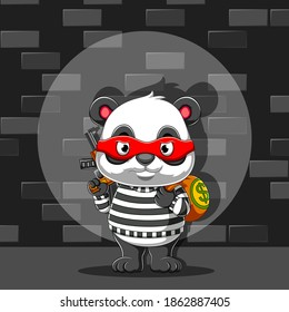 The illustration of the panda thief holding a sack of money and holding the gun