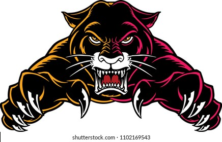 Illustration of a panther with angry face expression.